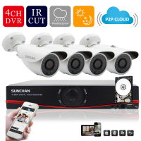 SUNCHAN HD 720P 1Mega CCTV System 4CH 1080P HDMI Output Put DVR Kit 4 Outdoor Night