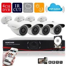 Sunchan HD 720 P AHD-M система видеонаблюдения 4CH 1080 P HDMI выход DVR Kit 4 1200TVL открытый ночного видения камеры безопасности система с 1 ТБ HDD видеонаблюдение комплекты камеры видеонаблюдения 1200tvl