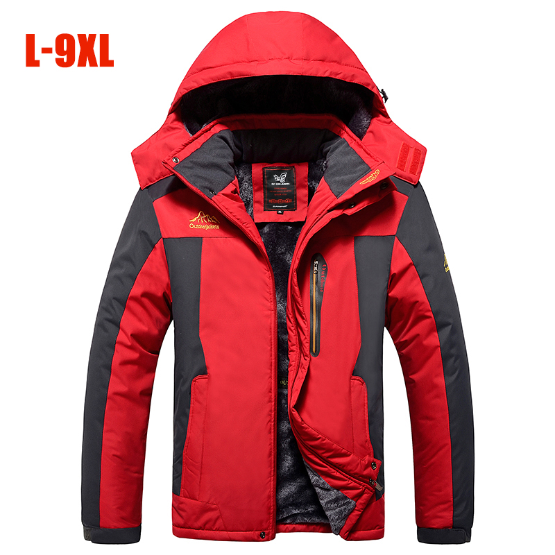 Large Size Men outdoor Jackets Fleece Warm Hooded Thick Parka Men <font><b>6XL</b></font> <font><b>7XL</b></font> 8XL <font><b>9XL</b></font> Multifunction Outdoor Winter Men coats Outwear image
