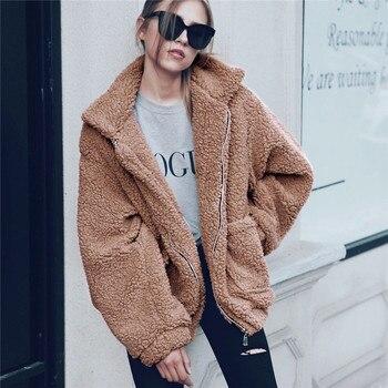 Elegant Faux Fur Coat Women 2019 Autumn Winter Thick Warm Soft Fleece Jacket Pocket Zipper Outerwear Overcoat Bear Teddy coat photo shoot