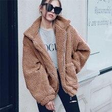 Elegante abrigo de piel sintética para mujer Otoño Invierno grueso cálido suave chaqueta de lana bolsillo cremallera ropa de abrigo de oso de peluche abrigo S-3XL