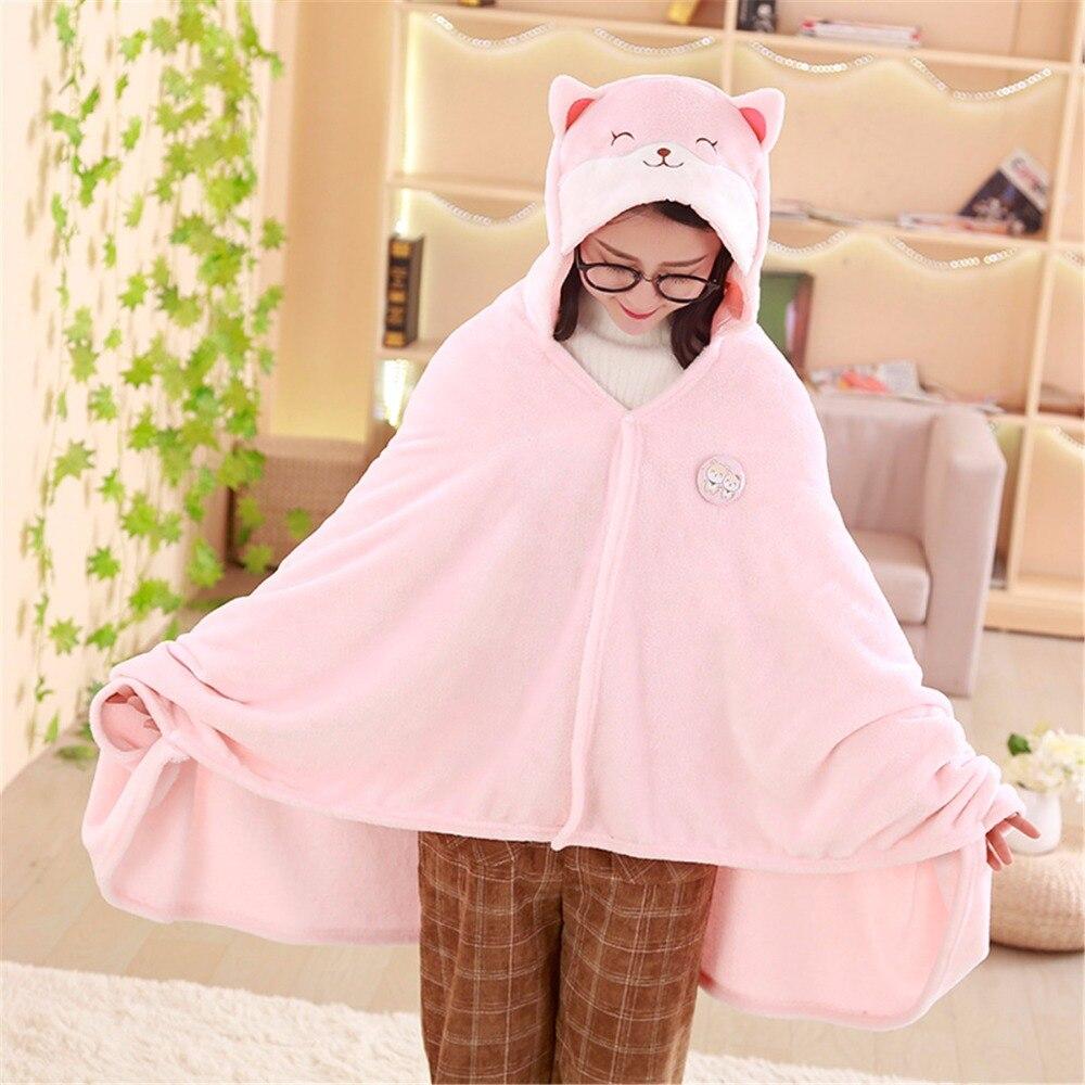 1pc 1*1.7m High Quality Cute Corgi Husky Dog Plush Cloak Soft Cartoon Cloak Anime Soft Hoodie Pajamas Animal Blanket Warm Cloak