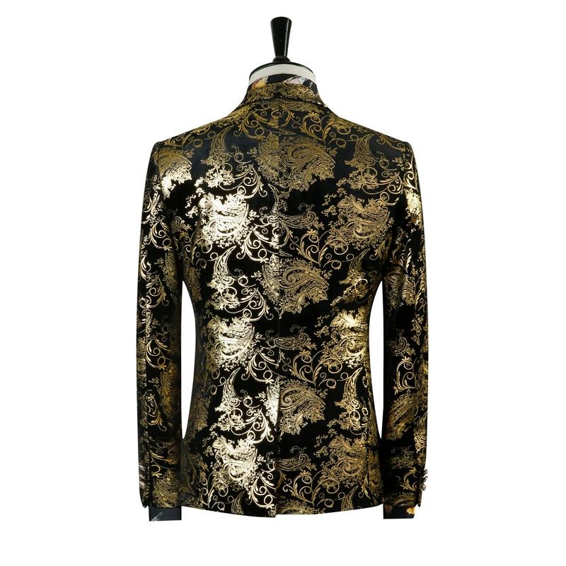 De Golden blazer Floral Smoking Paisley Noir Hommes Imprimé Costume Stade Or Mariage Fit Pantalon Slim Costumes Blazer SWxExqa