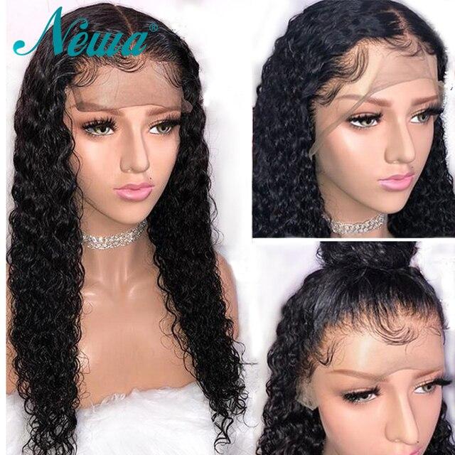 Pelucas de pelo humano de encaje 13x4 de Newa con pelo de bebé peluca frontal de encaje Remy brasileño Pre desplumado pelucas rizadas para mujeres negras