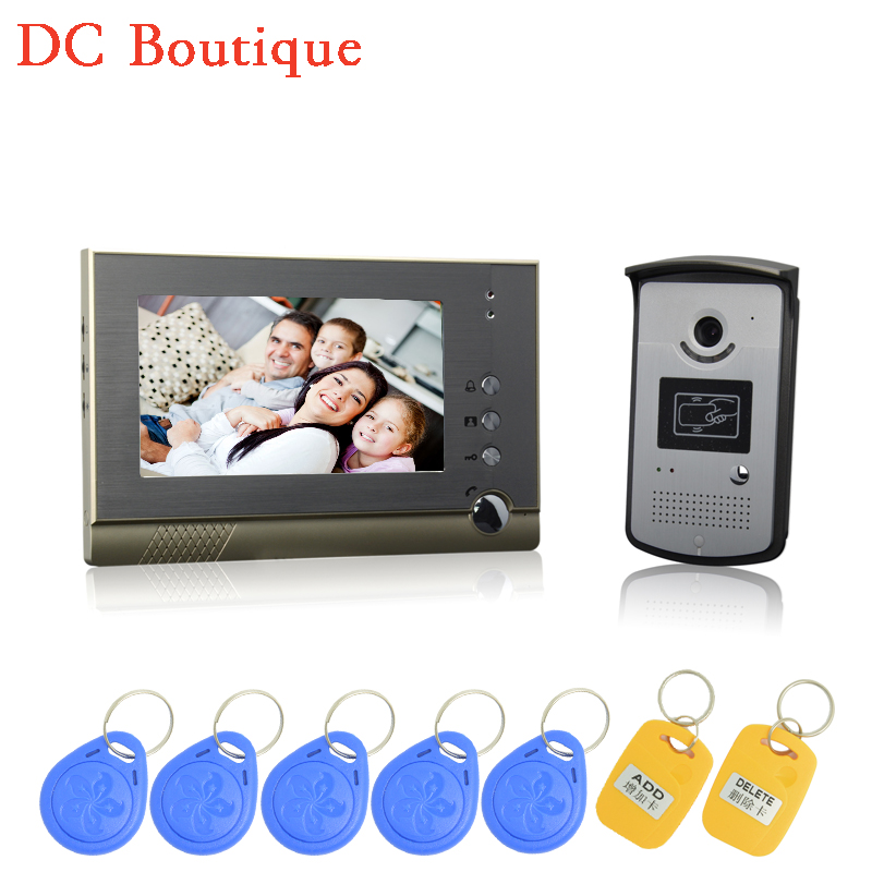(1 set) HD 600TVL Wire one to one Video Door Phone Night version Camera CMOS Lens 7 inch TFT-LCD color screen RFID card unlock 1 set hd 7 inch colorful display aluminium case one to one video door phone system rfid card unlock wired intercom camera