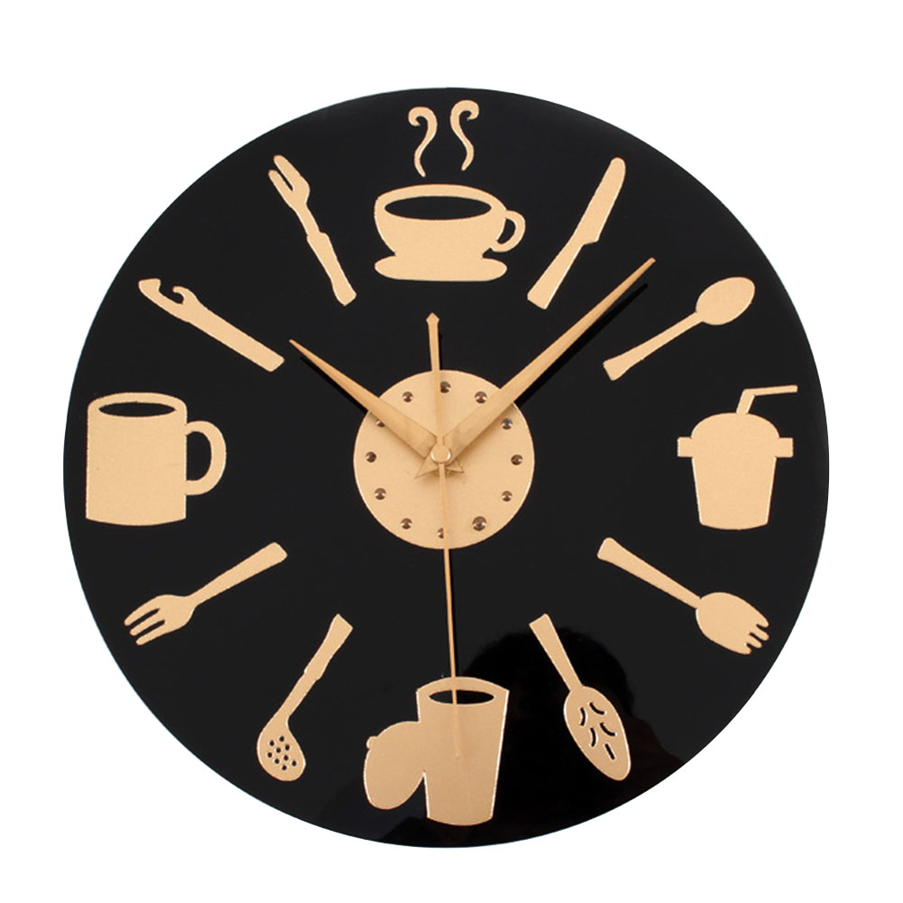 Kitchen Wall Clock Knife & Fork Spoon <font><b>12</b></font> inch Creative Wall Watch Quartz Kitchen Living Room Wall Clock Christmas 50CL026 image