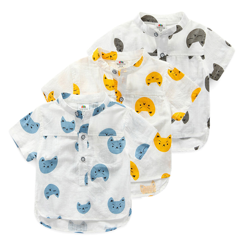 Детские хлопок одежда рубашки для мальчиков детей одежда 2017 лето новых детей повседневная мода котенок шаблон хлопок рубашка