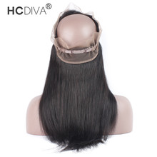 HCDIVA 360 Lace Frontal Closure Pre Plucked With Baby Hair Brazilian Straight Hair 22x4x2 Natural Hairline
