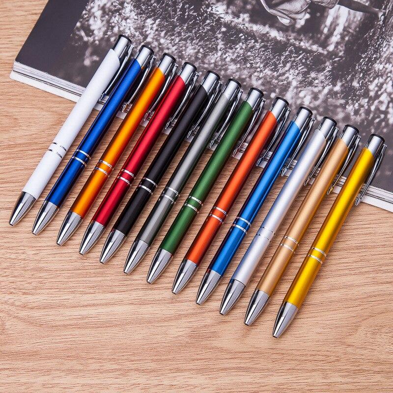 100 pcs/lot en gros stylo en métal en aluminium stylo à bille en aluminium stylo à bille pour cadeau en gros
