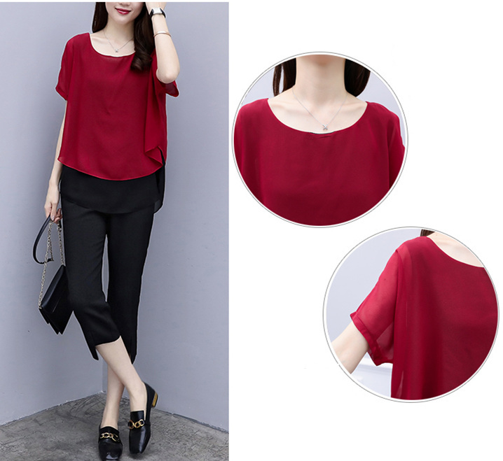 Black Red Summer Two Piece Sets Women Plus Size Short Sleeve Blouses And Cropped Pants Suits Casual Loose Women's Sets Clothing 34