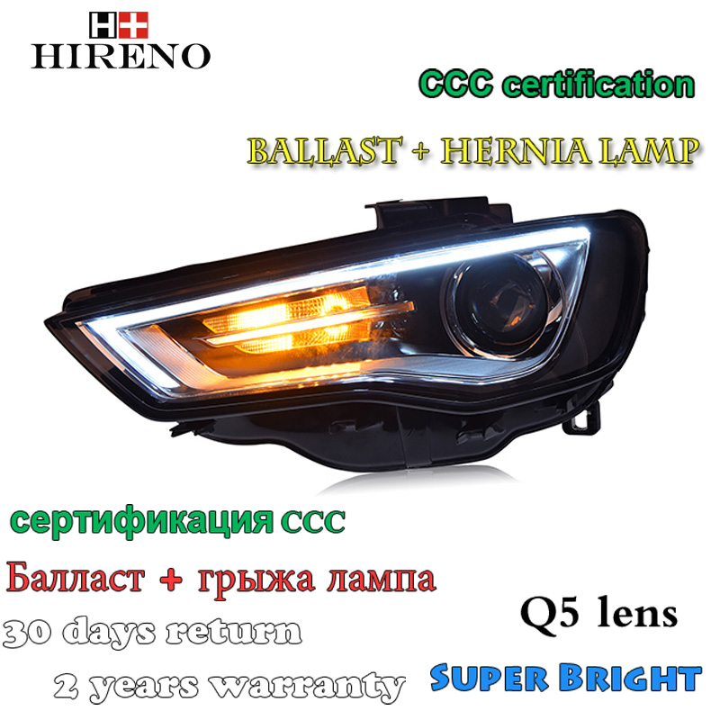 Hireno Car styling Headlamp for Adui A3 2014-16 Headlight Assembly LED DRL Angel Lens Double Beam HID Xenon 2pcs hireno car styling headlamp for 2007 2011 honda crv cr v headlight assembly led drl angel lens double beam hid xenon 2pcs