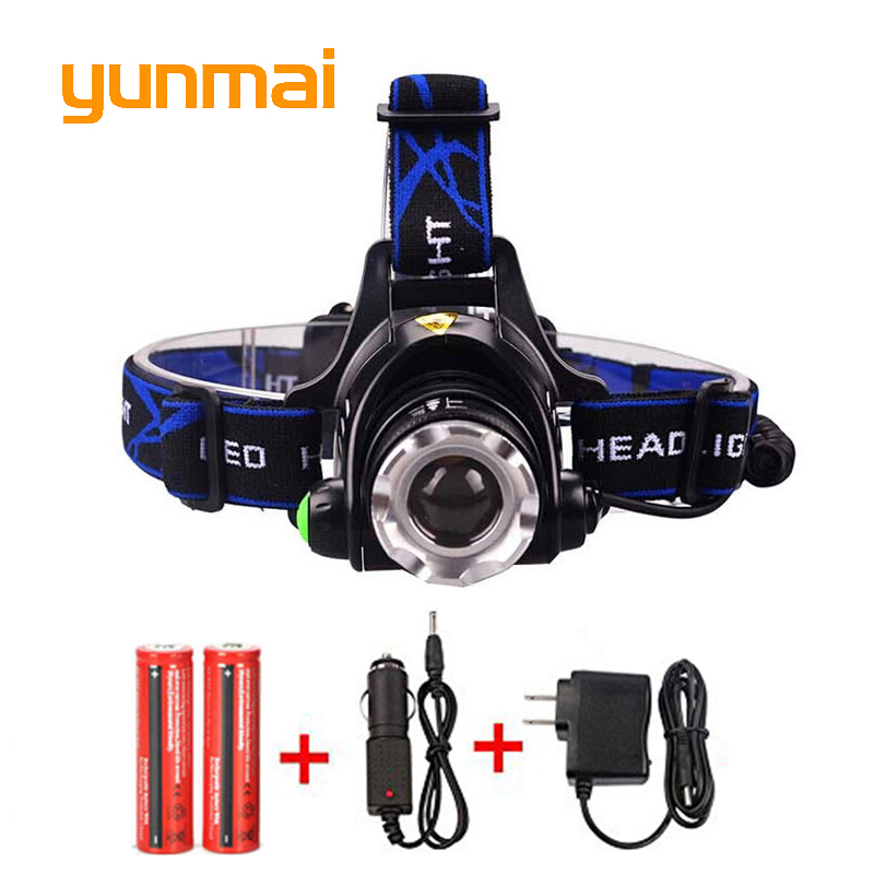 5000LM LED Headlamp CREE XM-L2 3 Modes Rechargeable Headlight Head Lamp Lights For Hunting+Charger(US EU UK AU)+2 PCS 18650