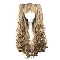 Mcoser 65 cm de color mezclado rizado + clip en ponytail Pelo sintético partido Cosplay peluca alta temperatura 100% fibra 225a