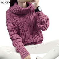 Aelorxin Winter Women Turtleneck Sweaters And Pullovers Long Sleeves Solid Thick Warm Sweater Women Pull Femme