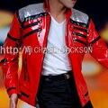 ГОРЯЧАЯ Панк Красный Молния MJ Майкл Джексон Beat It Случайные Индивидуальные Америка Мода Стиль Куртки И Пиджаки Имитация