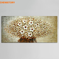 Unframed Modern Abstract Oil Painting Flowers Palette Knife Handpainted Canvas Painting Home Decor For Living Room