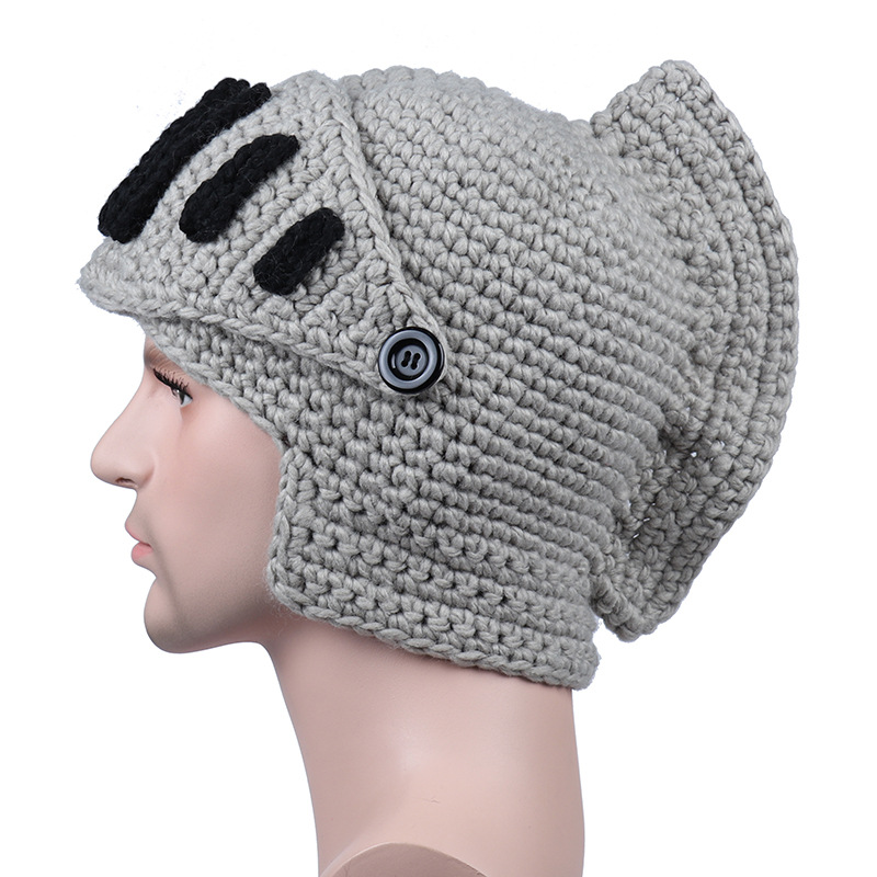 Novelty Men Women Roman Knight Armor Caps Cool Cute Winter Handmade Knitted Hats Gladiators Cap Unisex Warm Fashion Masks Hat Apparel Accessories