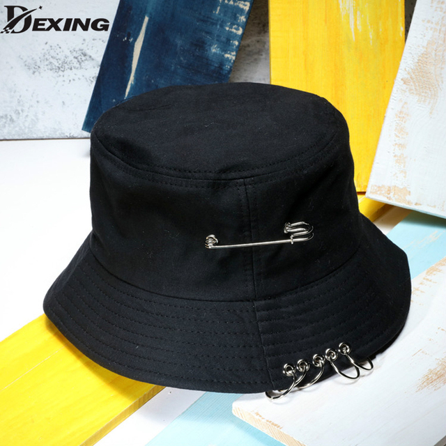 Hot selling 2018 BTS SUGA Fashion KPOP Iron HOLE WITH PIN Bucket Hats  popular style cap 100% handmade e74f7b1076b