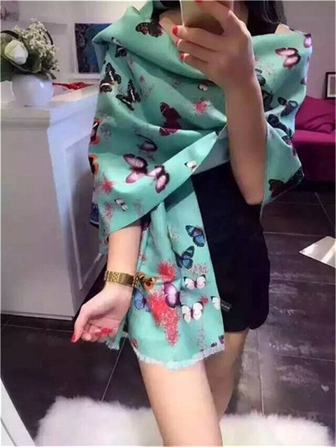 Desigual 2015 women winter wraps butterfly print cheap pashmina scarves  poncho cashmere cape fleece wolle foulard femme luxury 3ccb408fe63