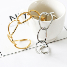 2019 Fashion Simple Design Gold Silver Wide Hollow Cross Bangle Geometric Bracelet Personalized Women Jewelry Gifts