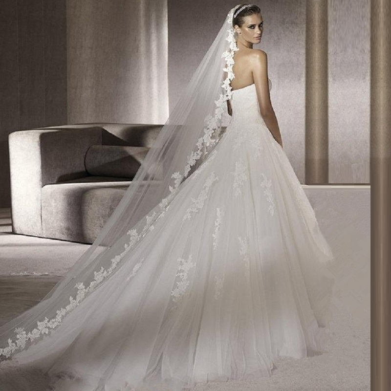Summer Style Bridal Veil 2017 3 Meters Long Design Cathedral Wedding Accessories Wh Lace Edge Veu De Noiva Longo In Veils From
