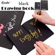 Kemila A4/A5 наружный портативный эскиз книга Рисование записная книжка с черной бумагой для эскиза Милая книга для рисования школьный блок для заметок принадлежности