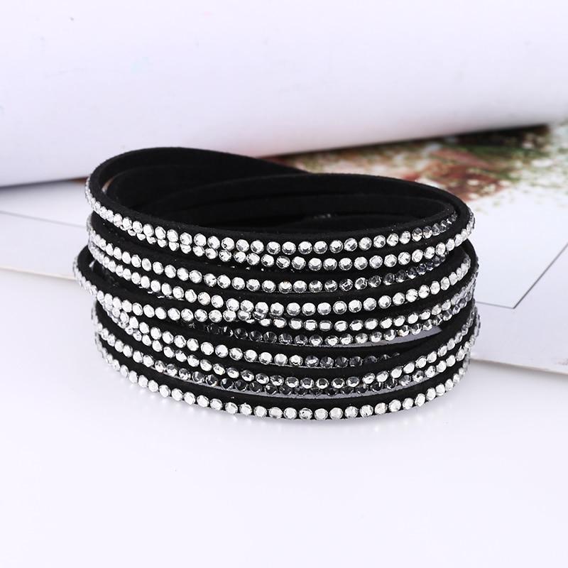 HOCOLE 2019 New Charm Rhinestone Crystal Leather Bracelets For Women Bohemian Vintage Bracelet Statement Fashion Jewelry Gifts