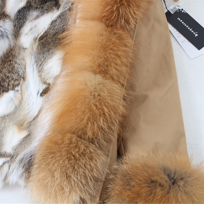 Image 3 - Natural rabbit fur lined with cotton fur coat winter female warm parkReal Fur   -