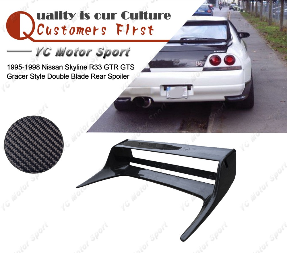 Car Accessories Carbon Fiber Rear Spoiler Fit For 1995 1998 R33 GTR GTS Gracer Style Double Blade Rear GT Wing