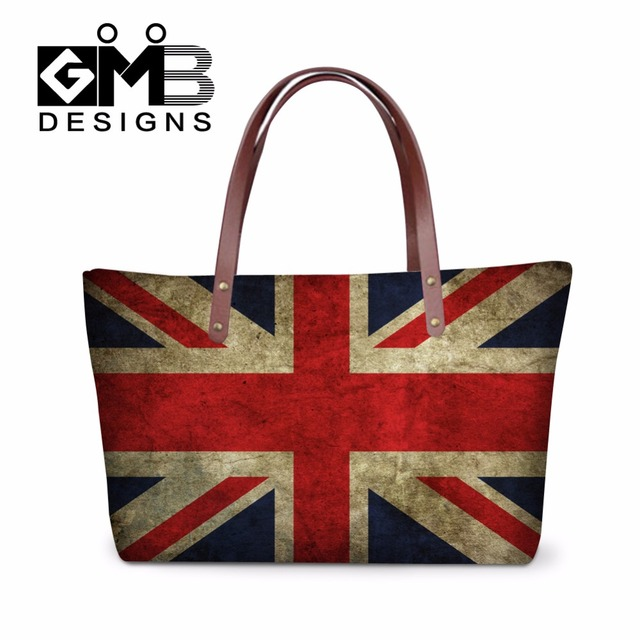 Personalized Union Jack Printed Handbags For Women Flag Large Messenger Bags Casual Totes High