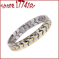 Free Shipping Health Care Bracelet With Magnet Stainless Steel Unique Design Magnetic Bracelet Two Tone Bracelet