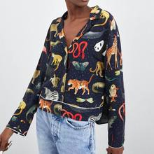 Women Wear 2019 Spring New Animal Print Pajama Shirts Women Print Notched Button Fashion Clothing Clothes Shirts Women animal print pajama set