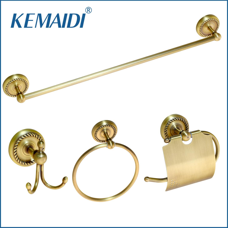 KEMAIDI Antique Brass Bathroom Accessories Robe hook,Paper Holder,Towel Bar Towel Ring Bathroom Sets new arrivals european design towel ring brass bathroom towel holder towel bar bathroom accessories