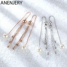 ANENJERY 925 boucles d'oreilles en argent Sterling perle perles irrégulières gland oreille chaîne longues boucles d'oreilles pour les femmes oorbellen S-E876
