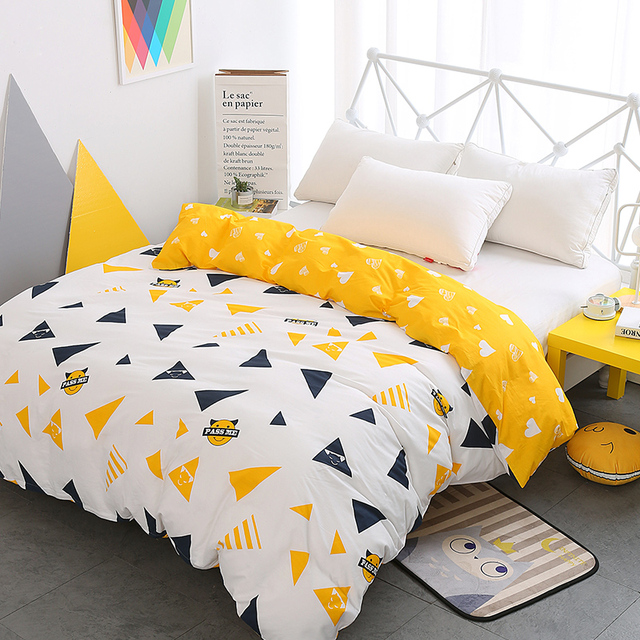 New Luxury White Yellow Duvet Cover Cartoon Kids Triangle 100%cotton Twin  Full Queen King