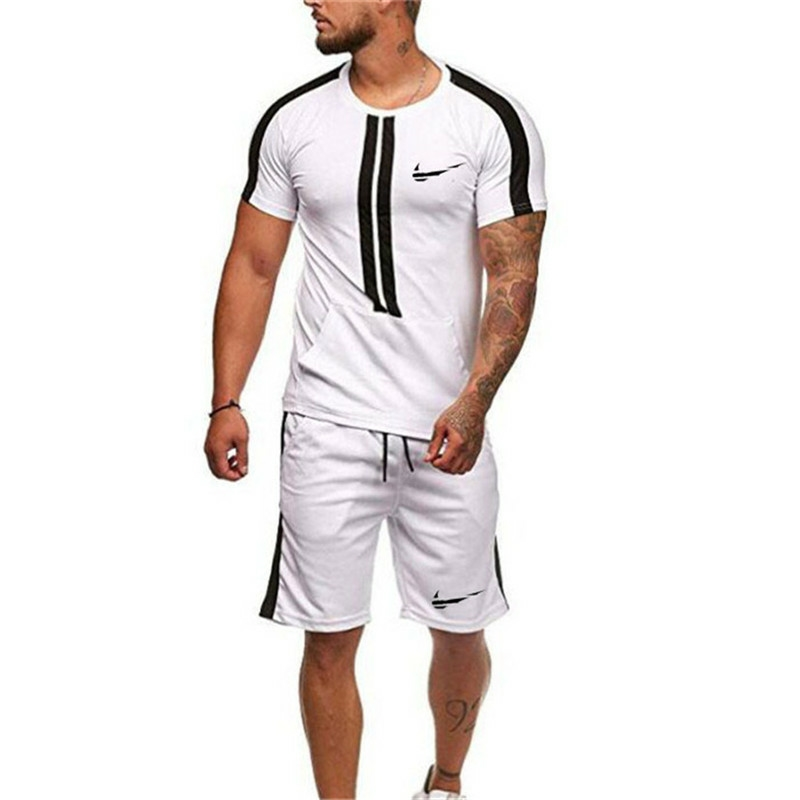 Men's Sets Fashion Sportswear Tracksuits Sets Men The TURNHALLEN T-shirt + Shorts Casual Outwear Suits Chandal Hombre Completo
