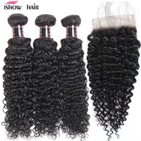 Ishow Malaysian Kinky Curly Hair 3 Bundles With Closure Baby Hair Free Part 4pcs Lot Human