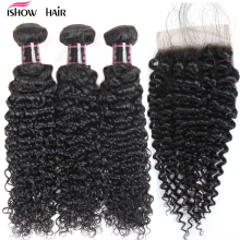 Ishow Малайзияның Kinky Curly Hair жууға болатын 3 байламы Baby Hair Free Part 4pcs / lot Human Hair Bundles With Closure Non Remy