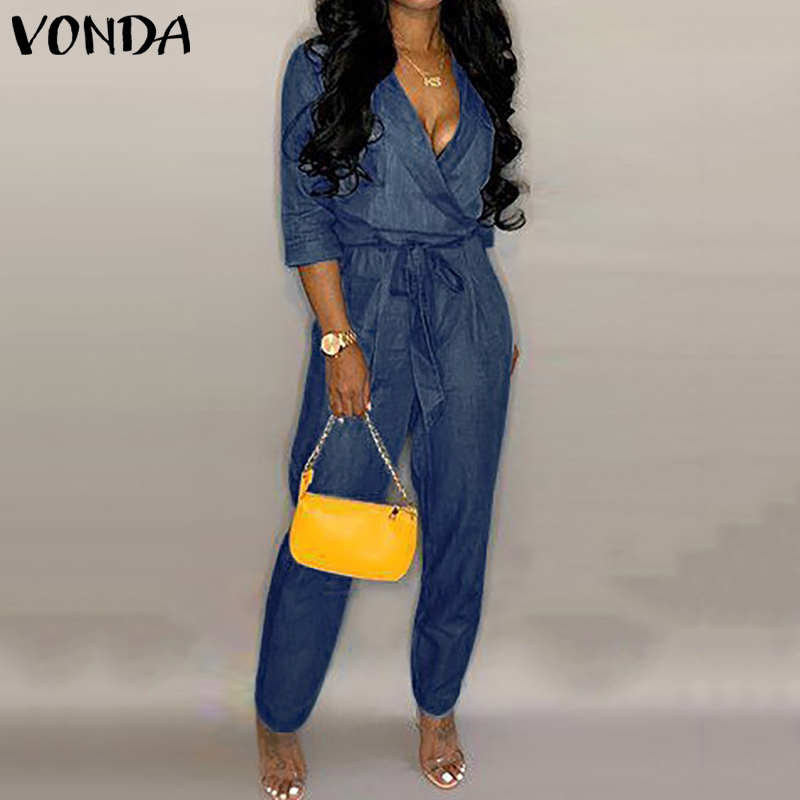 Fashion Summer Denim   Jumpsuits   VONDA Women Sexy Deep V Neck Rompers Casual Linen Overalls Femme Loose Playsuits Plus Size Pants