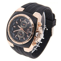 2016 Hot Sales Men's Fashion Casual Sports Style Golden Tone Silicon Analog Quartz Wrist Watch