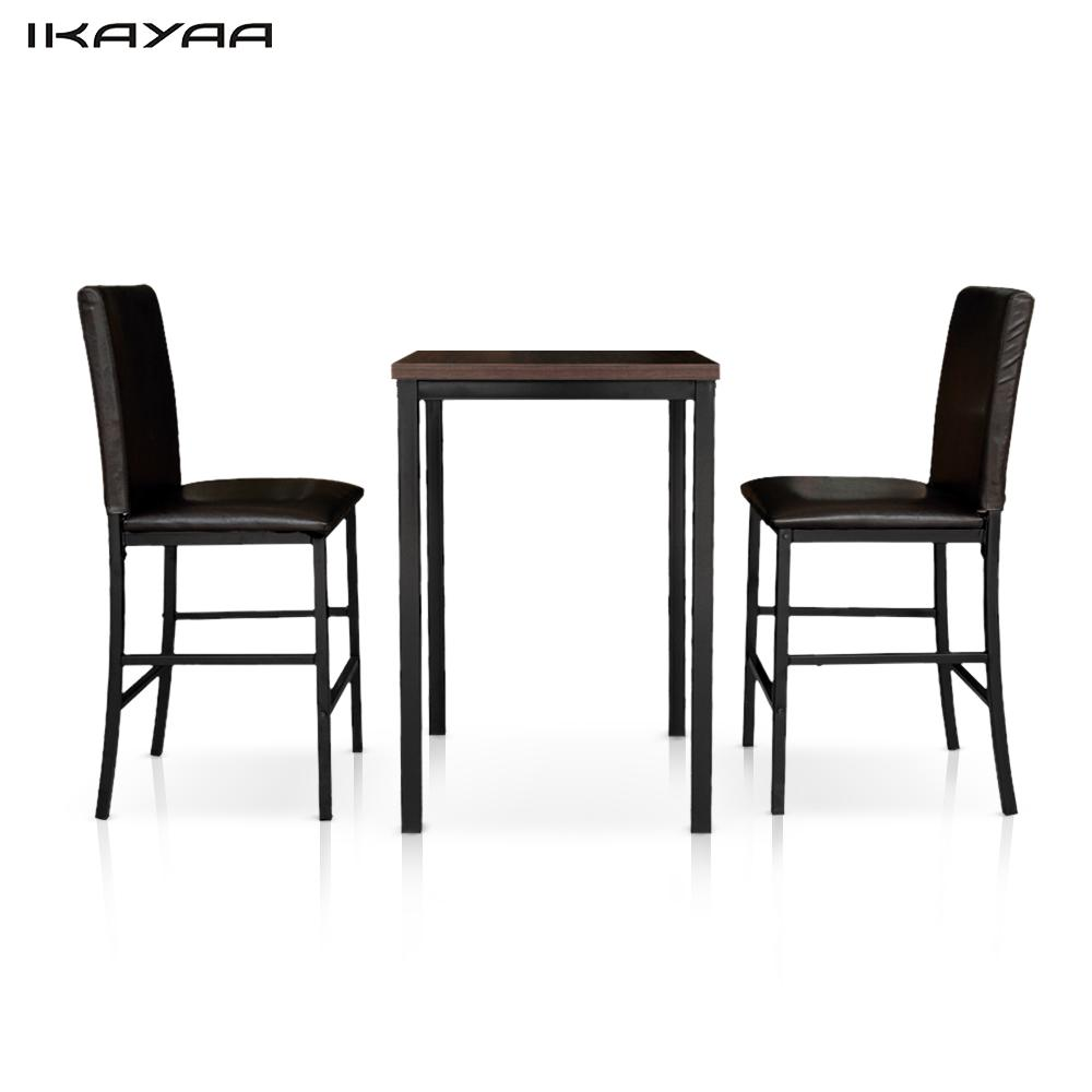 Indoor bistro table and chairs - Ikayaa Modern 3pcs Bar Set Pub Bar Table With 2 Chairs Indoor Bistro Set Kitchen Breakfast