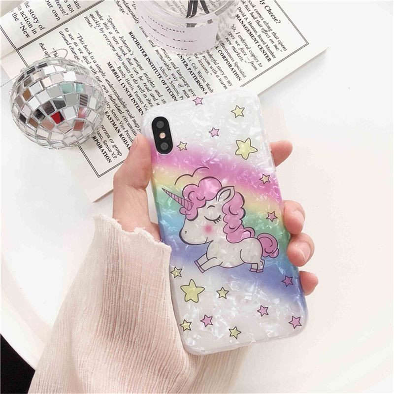 Glitter Cute unicorn stars phone case For iphone X XR XS Max Dream Shell soft silicone for 6 6s 7 8 plus
