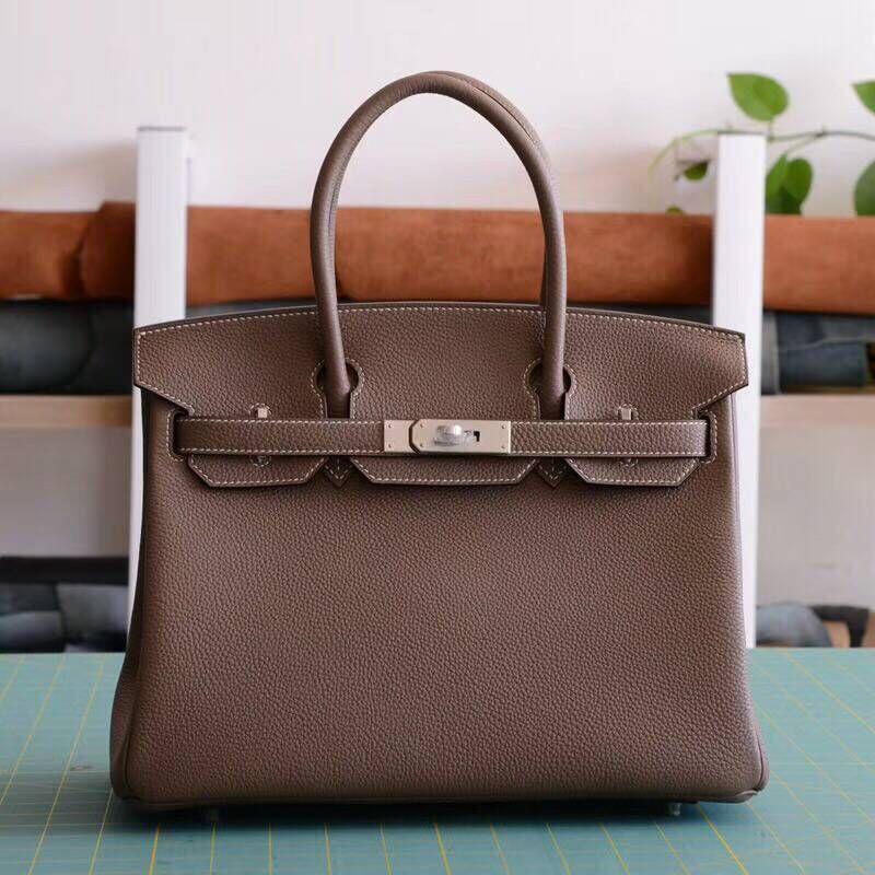 DCM 30CM 35CM Genuine Togo Calfskin Leather Original Leather Women Top Handle Tote Bag