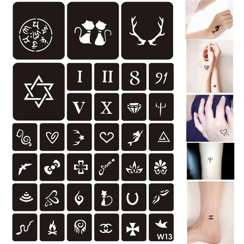 купить 129 Patterns DIY Airbrush Henna Stamps Drawing Cat Flower Letter Sexy Tattoo Stencils Women Body Art Temporary Glitter Templates по цене 298.02 рублей