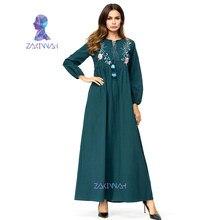 3dc41f8bc8b175 Plus Size Fashion Abaya Voor Vrouwen Borduren Lange Mouwen Moslim Maxi Jurk  Groen Arabische Dubai Islamitische Kleding Dames Rob.