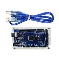 Hot Mega 2560 R3 Mega2560 ATmega2560 16AU CH340G Board Acrylic Case USB Cable Compatible For Arduino