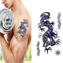 Waterproof Temporary Dragon Tattoo Totem For Wrist Arm Chest, Men Blue Dragon Totem Personality Fake Tattoo Stickers AX12