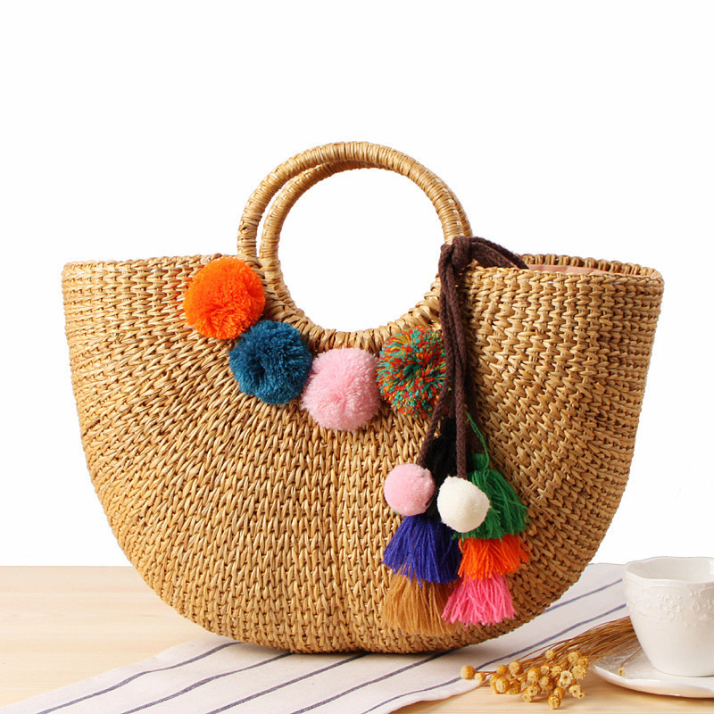 Summer Woman Hand Carry Straw Plaited Pompom Yellow Article Weaver Ball Sandy Beach bag sandy beach round mat