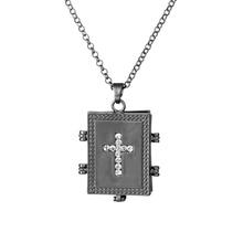 цена на Matte Black Trendy Christ Jesus Rhinestone Cross Locket Men Necklace Expanding Lover Memory Photo Locket Pendant Necklaces