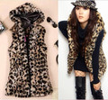 Free Shipping vivi leopard print with hat coat fur long vest
